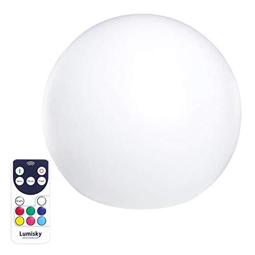 Boule lumineuse sans fil flottante LED multicolore dimmable BOBBY ∅30cm avec télécommande et socle à induction