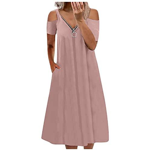 pamkyaemi Strandkleid Damen Knielang Sommerkleid Sexy Schulterfrei V-Ausschnitt Kurzarm Off Shoulder Kleider mit Reißverschluss Einfarbig Kleider Lässig Lange Minikleid