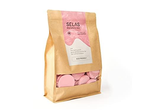Cera depilatoria caliente de fácil fusión Rosa 1kg SELAS. Depilación sin bandas,...