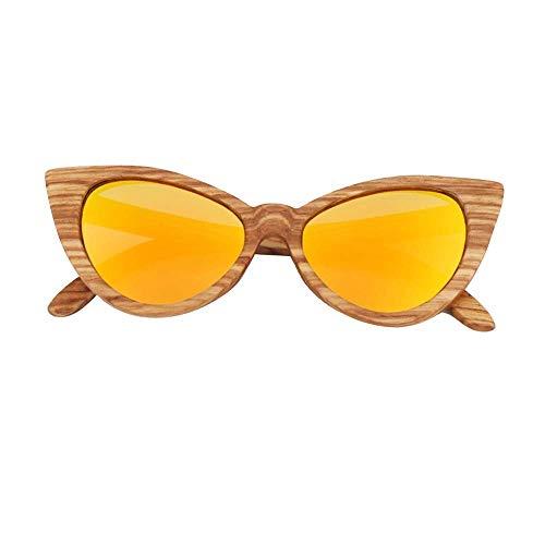 WWKDM1 Gafas de Sol para Mujer con Ojos de Gato Amarillo Rosa, Gafas de Sol polarizadas en Forma de Mariposa Cebra, bambú