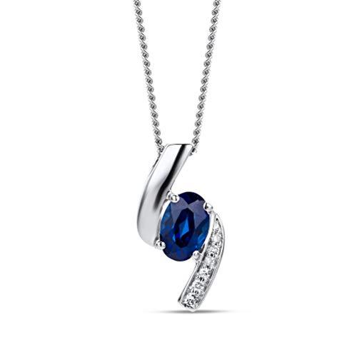 Orovi Halskette Damen Weißgold 9 Karat / 375 Gold Kette Blauer Safir mit Rundschliff Diamant Kette 45 cm