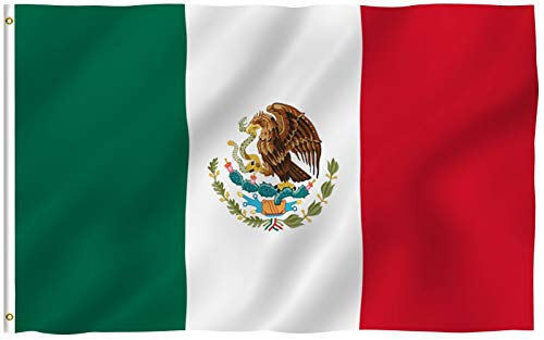 ANLEY Fly Breeze 3x5 Foot Mexico Flag - Vivid Color and Fade Proof - Canvas Header and Double Stitched - Mexican MX National Flags Polyester with Brass Grommets 3 X 5 Ft