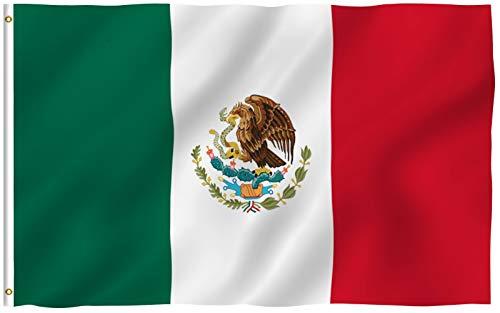 Anley Fly Breeze 90 x 150 cm Bandera México - Colores Vivos y Resistentes a Rayos UVA - Bordes Reforzados con Lona y Doble Costura - Mexicana MX Nacional Banderas Poliéster con Ojales de Latón