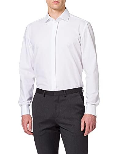 Seidensticker Herren Modern Kent Party Businesshemd, Weiß (Weiß 01), 42