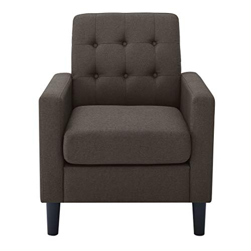 Armchair Sofa Upholstered Heavy Duty Single Sofa with Thick Seat Cushion for Living Room Bedroom Office in Brown