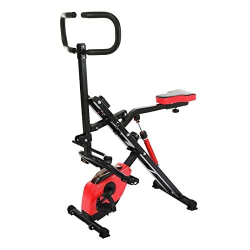Bicicleta Estática Plegable, Hasta 150 Kg con 12 Niveles de Tensión Magnética Ajustables, Pantalla Lcd,para Músculos Abdominales, Glúteos, Piernas, Muslos y Brazos
