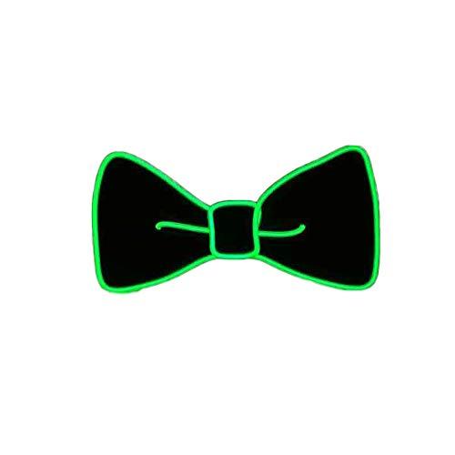 San Zhi LED Fliege Neuheit Einstellbar EL Draht Leuchtend Krawatte für Weihnachten Silvester Rave Party (Grün)