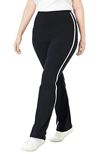 Woman Within Women's Plus Size Petite Stretch Cotton Side-Stripe Bootcut Yoga Pant - 3X, Black White