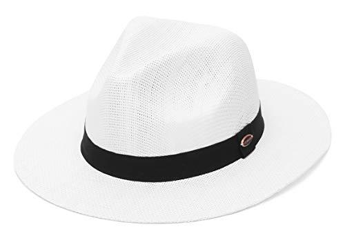 EOZY Sombreros de Paja para Hombre Sombreros de Panamá Gorro de Paja Decoración de Tela con ala Ancha Anti-UV para Mujeres,Blanco(56-58 CM)