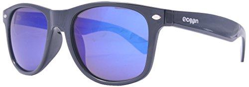 Ocean Sunglasses - Beach wayfarer - lunettes de soleil polarisées - Monture : Noir Laqué - Verres : Revo Bleu (18202.1 )