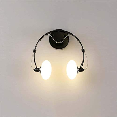 Skysep Iluminación Creativo Lámpara de Pared E27 Auriculares Moderno Apliques de Pared Cocina Restaurante Corredor Escaleras Pasillo Escalera Retro (Color : Black)