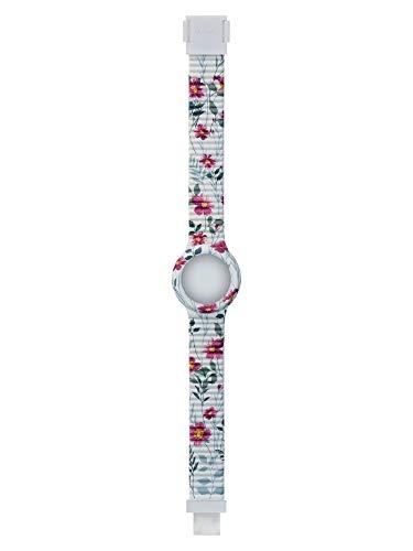 Hip Hop Correa Spring Fever, correa intercambiable reloj de mujer para caja de 32 mm color blanco con impresión de flores de silicona suave resistente al agua Flores Campo