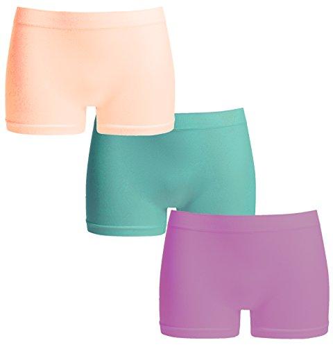 UnsichtBra Damen Panties Mehrpack - Frauen Unterwäsche | Damenunterwäsche - Damen Panty im 3-er Set | Wohlfühl Pantys | Damen Boxershorts (Rosa, Blau, Lila, M-L)