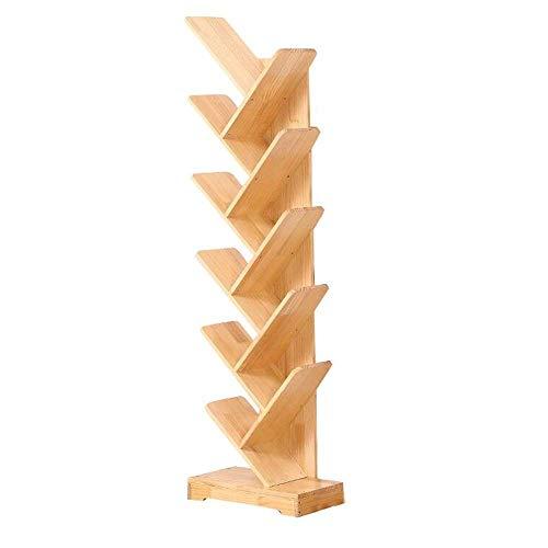 Estantes de decoración de muebles Estantería de árbol hecha de madera Estante de libros Estante de torre de columna vertebral Estante de pared de almacenamiento extraíble con base de equilibrio 3 A