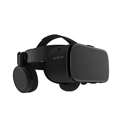AJO Intelligente VR-Headset-Brille mit Bluetooth-Kopfhörern Augengeschütztes HD-Virtual-Reality-3D-Headset für Android-iPhone und andere Telefone innerhalb von 4,7 bis 6,2 Zoll (Color : Black)