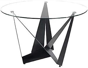 M-034tavola Rotonda in Vetro Metallo Nero Design Eros