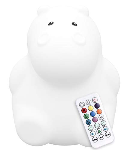 LumiPets LED Hippo Battery-Operated/USB-Powered Silicone Night Light for Kids with 9 Tap-to-Activate Colors