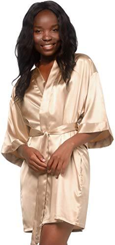 Turquaz Linen Satin Kimono Bridesmaids Robe (Large, Taupe)