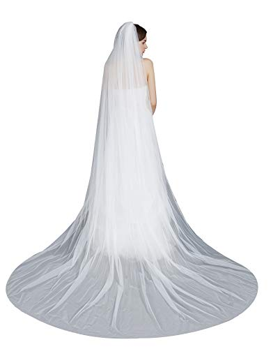Wedding Bridal Veil with Comb 1 Tier Pencil Edge Cathedral Length 118