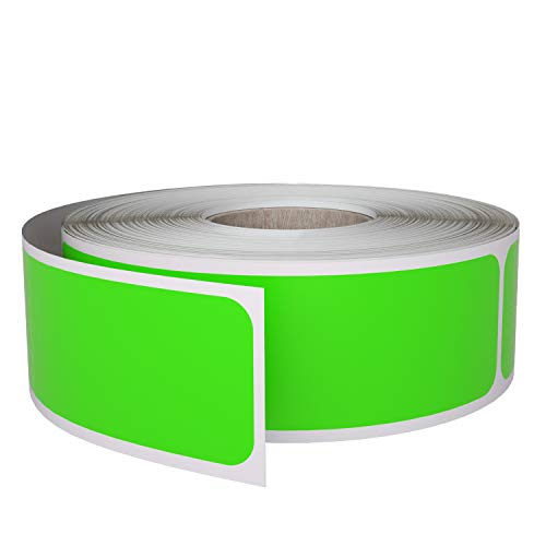 Royal Green Rectangular Colored Sticker 1x3 inch (7.5cm x 2.5cm) Neon Green Labels on a Roll 250 Pack
