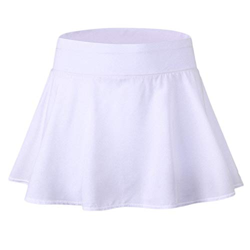 Mujer Plisada Skorts Elasticidad Atléticos Gym Tennies Falda Deportiva Blanco XL