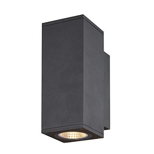 SLV LED Wandlampe ENOLA UP/DOWN S für die Außenbeleuchtung von Wänden, Wegen, Eingängen, LED Strahler, dimmbare Wandleuchte, Gartenlampe, Wegeleuchte / CCT-Switch (3000/4000 Kelvin), 285/320 lm, 7W