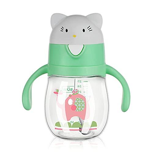 Yidieman Botella a Prueba de Fugas sin BPA,Tritan Botella de Agua de Dibujos Animados a Prueba de Fugas Straw-Green_270ML,Niños,Escuela,Camping,Ciclismo