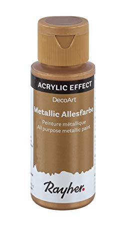 Rayher 38001620 Metallicfarbe, brillant gold, Flasche 59 ml, Acrylfarbe gold