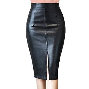 RAMISU Faux Leather Pencil Skirt High Waist Split Lady's Half Body Midi Hip Skirt 10