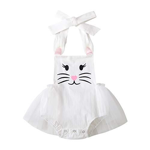 Bebé recién nacido niñas Casual Mameluco Blanco Conejo Impreso Patrón Barco Cuello Sin Mangas Traje