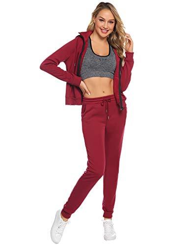Aibrou Women Tracksuit 2 Piece Fleece Zipper Hoodies and Pants Loungewear Thicken Winter Warm Sweatsuit Jogging Sportswear Casual Pajama Set