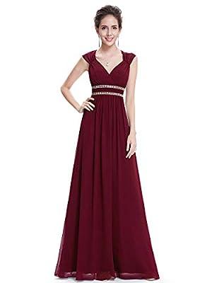 Ever-Pretty Womens A-Line Floor Length Chiffon Bridesmaid Dress 20 US Burgundy