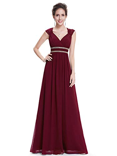 Ever-Pretty Womens Floor Lenth Short Sleeve Graduation Dress 4 US Burgandy