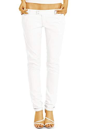 bestyledberlin BE Styled Damen Chinos - Stoffhosen, röhrige hüftige Passform, mit Stretch h15a 36/S Weiss