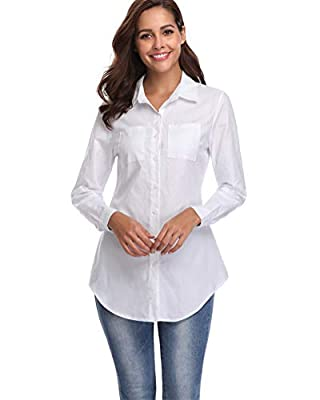 fuinloth Women's Chambray Button Down Shirt, Long Sleeve Cotton Blouse, Long Jeans Tunic Top White 2X-Large