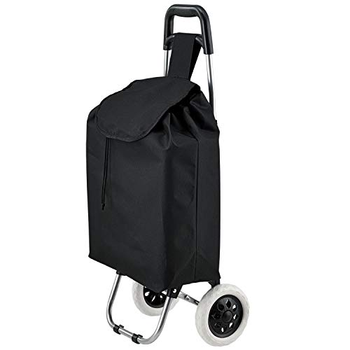 Juskys Einkaufstrolley Meran klappbar mit großen Rädern – abnehmbare Tasche – Metall-Gestell – schwarz - Einkaufsroller Shopping Trolley Einkaufswagen