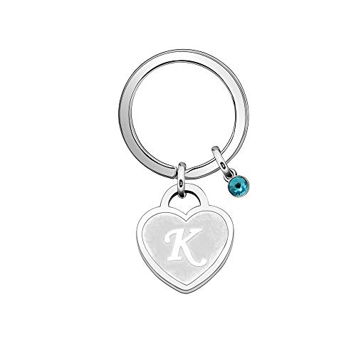 26 Initial English Letter A-Z Keyring Gift,Silver Heart Pendant Birthstone Keychain Key Chain Ring for Birthday Christmas Keyfob Accessories (K)