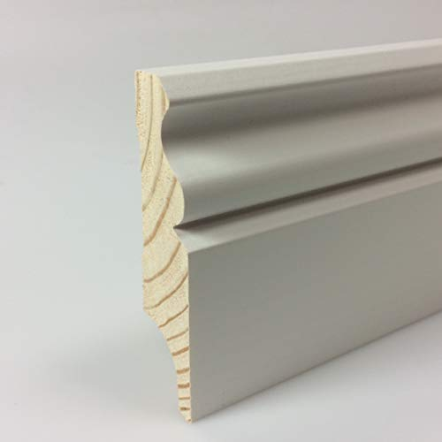 Zócalo blanco de madera con perfil de hamburguesa lacada de pino clásico 18 x 95 mm – 5 unidades de listones de 2400 mm – TOTAL 12,0 metros – KIE-1895-S5-2400