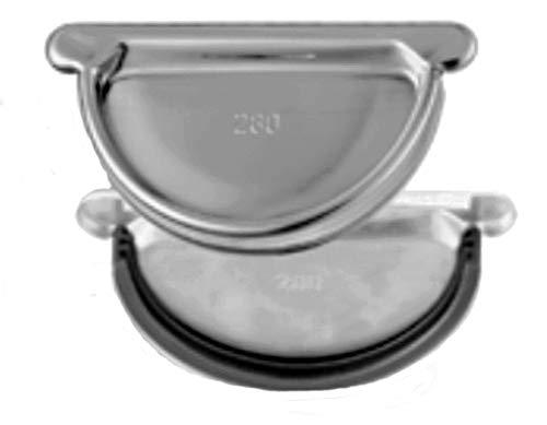 Steckboden universal mit Gummidichtung Titanzink für Dachrinnen in den Größen 250, 285 und 333 (250-er)