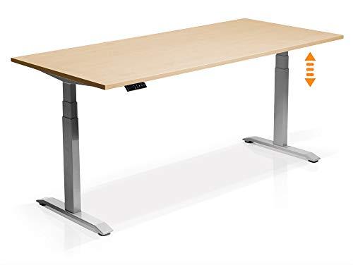 moebel-eins Elektrisch höhenverstellbarer Schreibtisch Office One mit Memory-Steuerung und Softstart/-Stop, Material Tischplatte Dekorspanplatte, 200x80 cm, ahornfarbig, grau