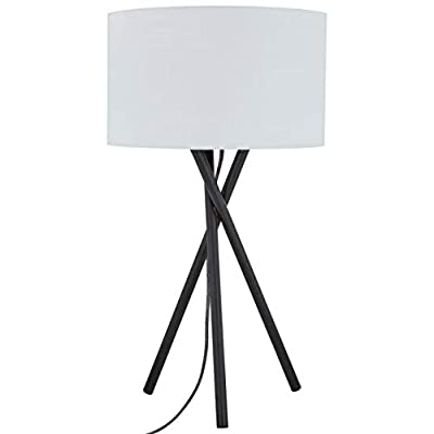 "Rivet Black Metal Tripod Table Lamp, 26.5""H, With Bulb, Linen Shade"