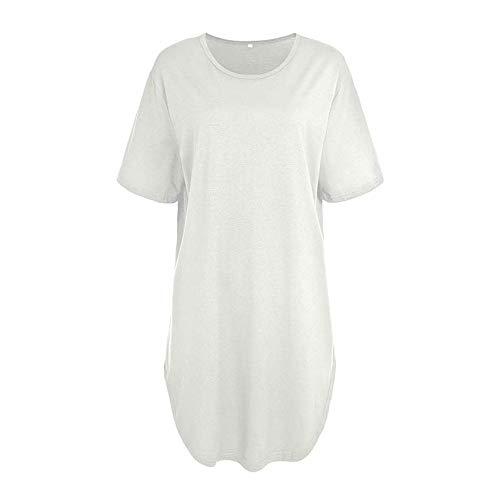 Nobrand Damen-T-Shirt, sexy, mit Seitenschlitzen, kurzärmelig Gr. M, beige