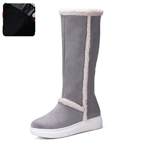 Botas para La Nieve De Invierno FríO Mujeres Piel Caliente Mujeres Adentro Gruesa Plataforma Zapatos Calzado Alta hasta La Rodilla Plana Superior