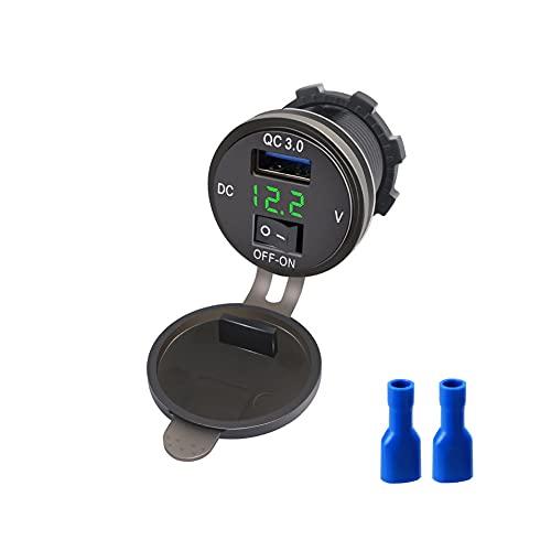 Enchufe para Cargador de Coche USB Quick Charge 3.0, Toma de Corriente USB Resistente al Agua, medidor de monitorización de Voltaje de batería de Coche Apto para Coche de 12V / 24V y más (Green)