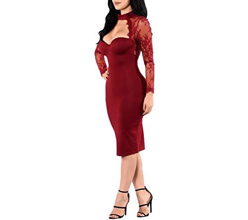 Carolina Dress Vestidos De Fiesta Cortos De Mujer Sexys Color Vino Ropa De Moda para Fiesta Noche Elegantes Casuales (L, Red)