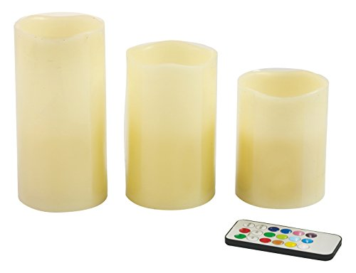 Galileo Casa Ambient Set de 3 Bougies LED, Cire/Plastique, Multicolore, 7.5 x 7.5 x 15 cm