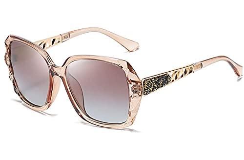 DANAN Gafas de sol polarizadas UV400, gafas de sol cuadradas polarizadas para mujer, marco brillante compuesto, gafas de sol A
