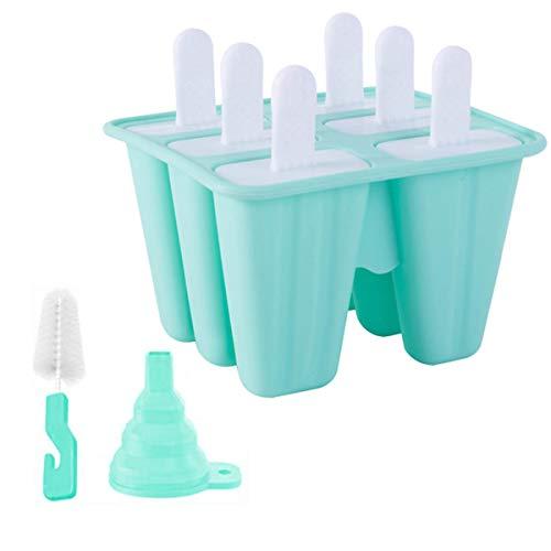 Molde de silicona para paletas de hielo, 6 piezas sin BPA, reutilizable fácil de liberar, con cepillo de limpieza y embudo (verde, 6 cavidades)