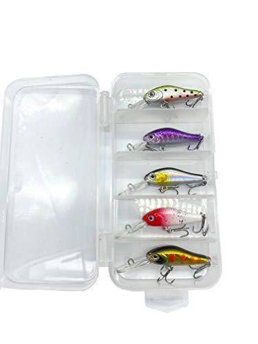 My-Fishing-World 5 miniseñuelos de pesca de hundimiento lento, 3,5 cm, 2,4 g, Japón + caja/para peces depredadores, lucios, percas, luciopercas, etc.