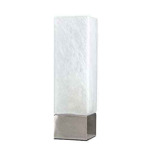 MiniSun – Quadratische Touch-Me Tischlampe aus gebürstetem Chrom mit weißem Milchglasschirm inklusive Kabel & Stecker – Touch-Me Tischleuchte